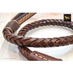 Statement Dark Brown Braided Leather Leash