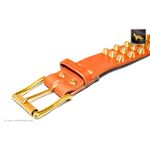 Gladiator V Cognac Studded Leather Collar 4