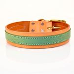 Sand Lime Leather Dog Collar2