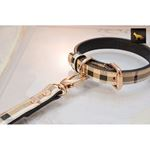 Leather Paws Plaid Designer Leather Collar 3