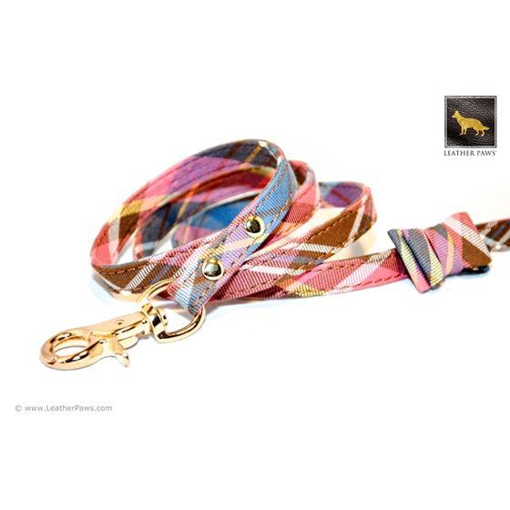 Universe Plaid Bow Tie Leather Leash 2