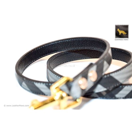 Black Designer Leather Leash 2