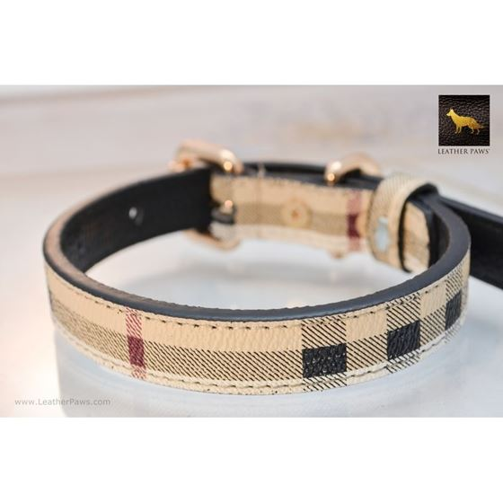 Leather Paws Plaid Designer Leather Collar