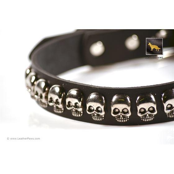 Skulls Black Leather Collar