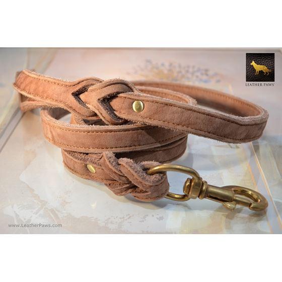 Velvet Coffee Suede Leather Leash  2