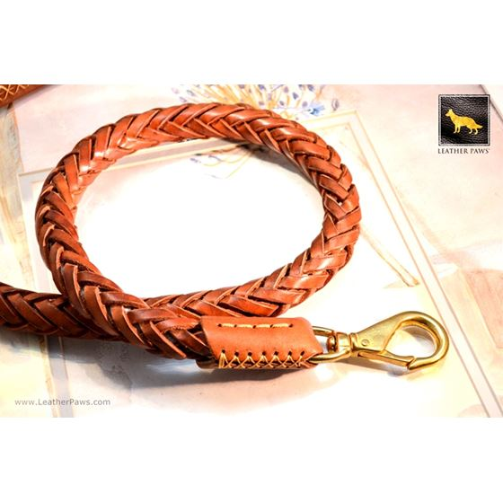 Statement Light Brown Braided Leather Leash 2
