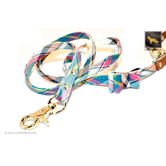 Ocean Plaid Bow Tie Leather Leash 4