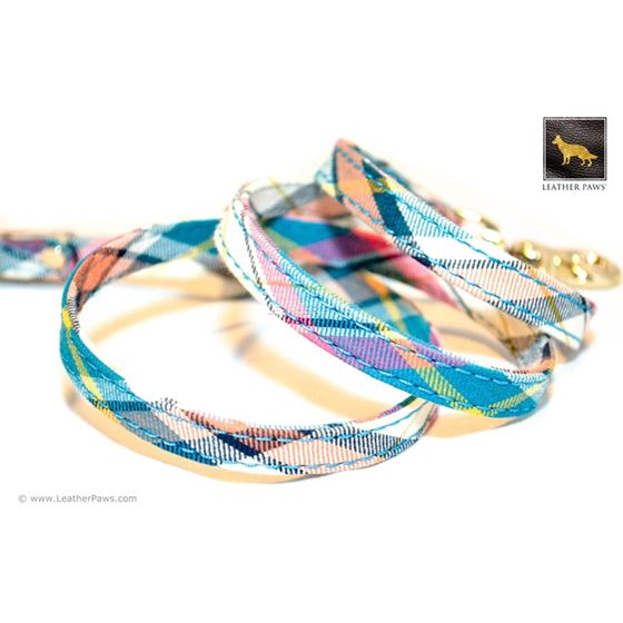 Ocean Plaid Bow Tie Leather Leash 2