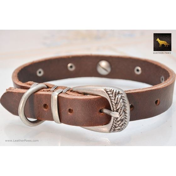 Blacksmith Chocolate Leather Collar