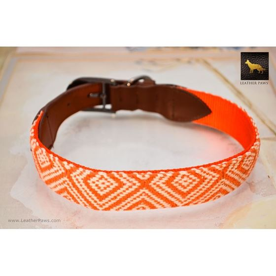 Diamond Shape Pattern Fabric Leather Collar