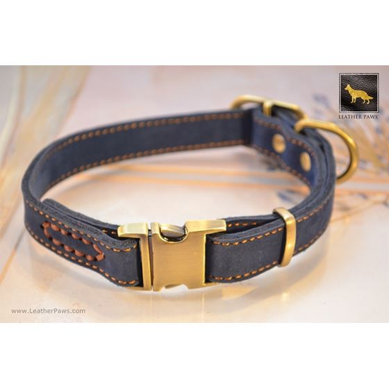 Quick Release Blue Suede Leather Collar