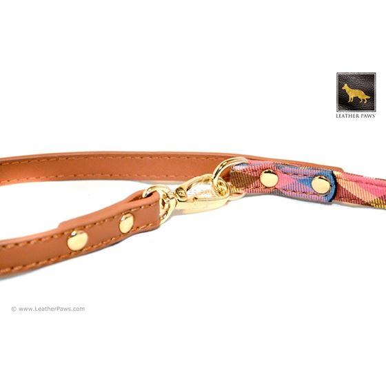 Universe Plaid Bow Tie Leather Leash 4