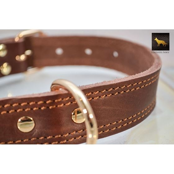 Chestnut Dual Stitch Leather Collar