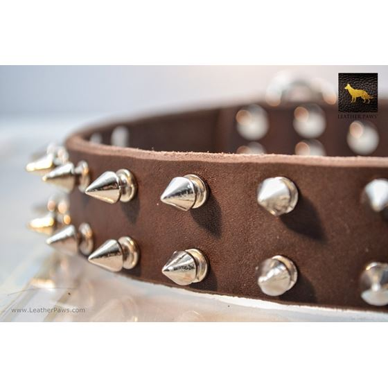 Spiked Brown Leather Collar 2