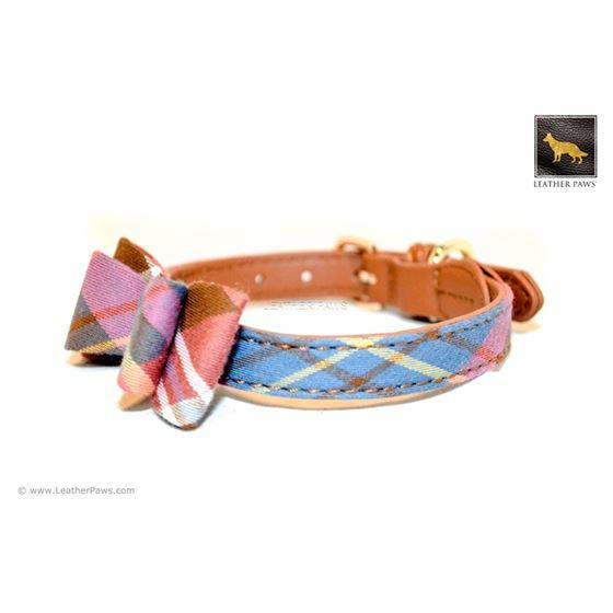 Universe Plaid Bowtie Leather Collar 2