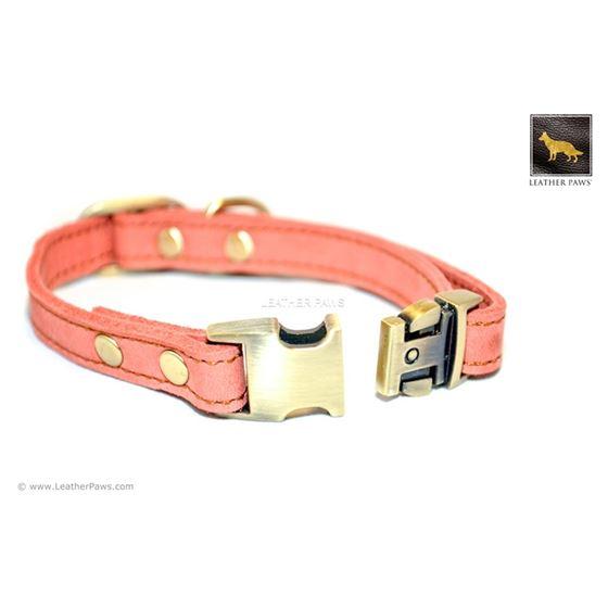 Quick Release Peach Leather Collar
