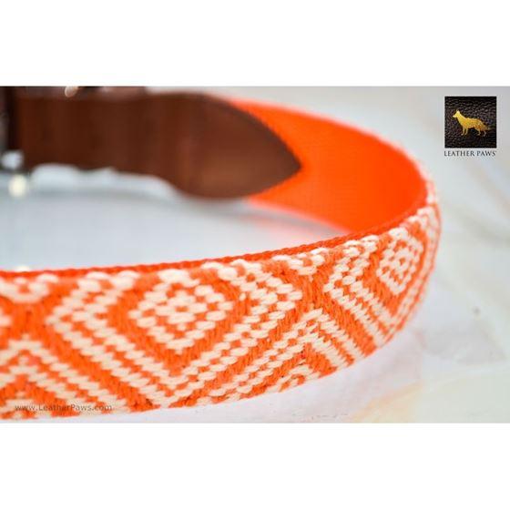 Diamond Shape Pattern Fabric Leather Collar 2