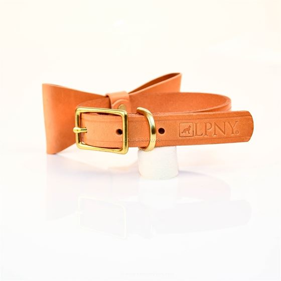 LPNY Sand Bow Tie Leather Collar3