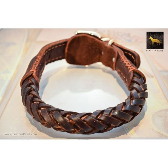 Thick Braid Leather Collar