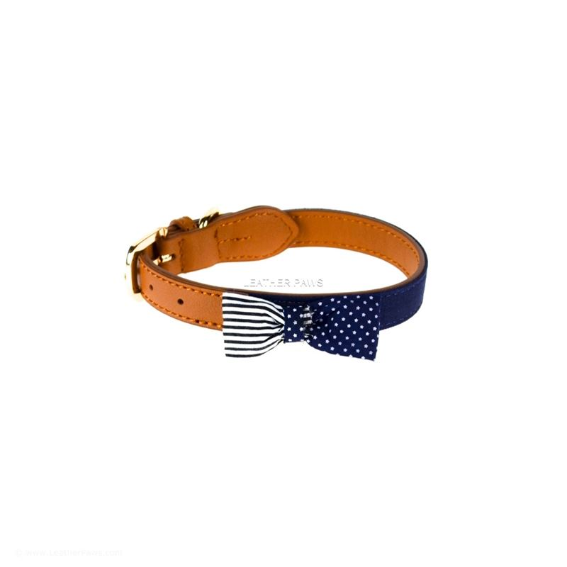 USA Bowtie Leather Dog Collar Front