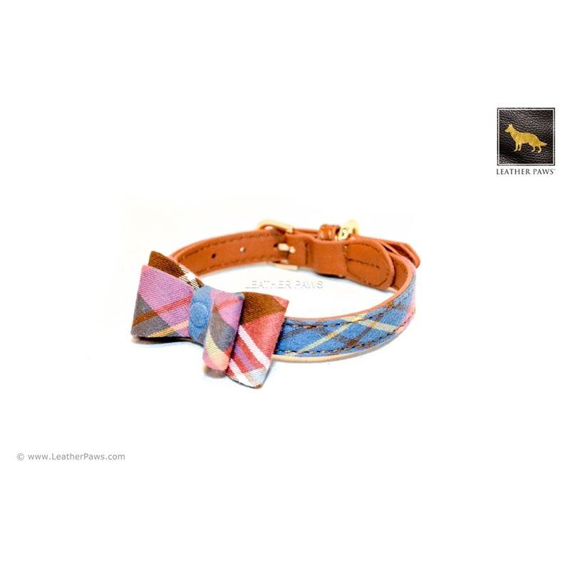 Universe Plaid Bowtie Leather Collar