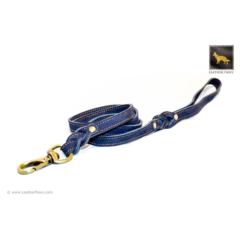 Love Knot II Blue Leather Leash 3