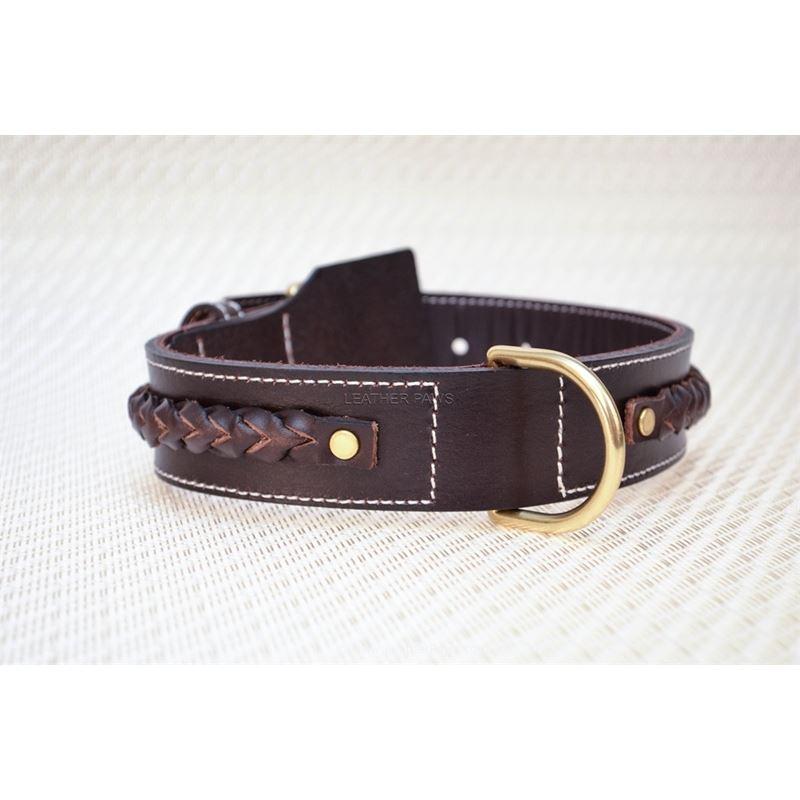 LPNY Red Oak Love Knot Braid Leather Dog Collar