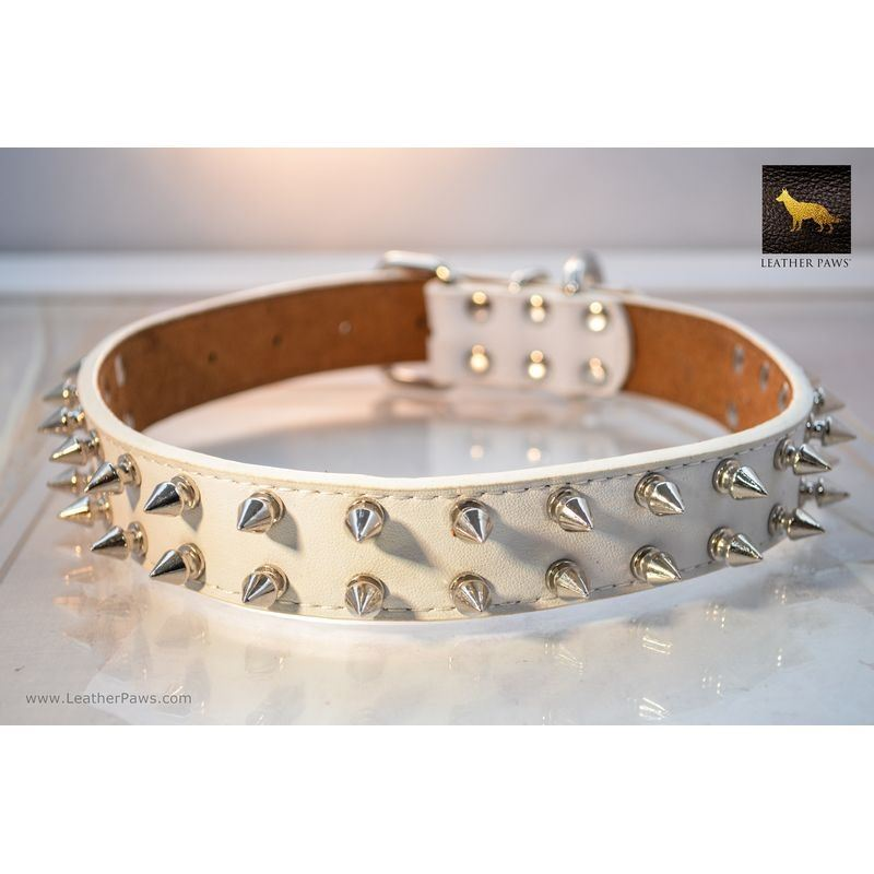 White Gladiator Spiked Leather Collar