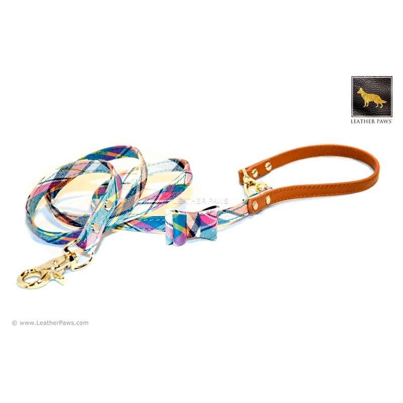 Ocean Plaid Bow Tie Leather Leash