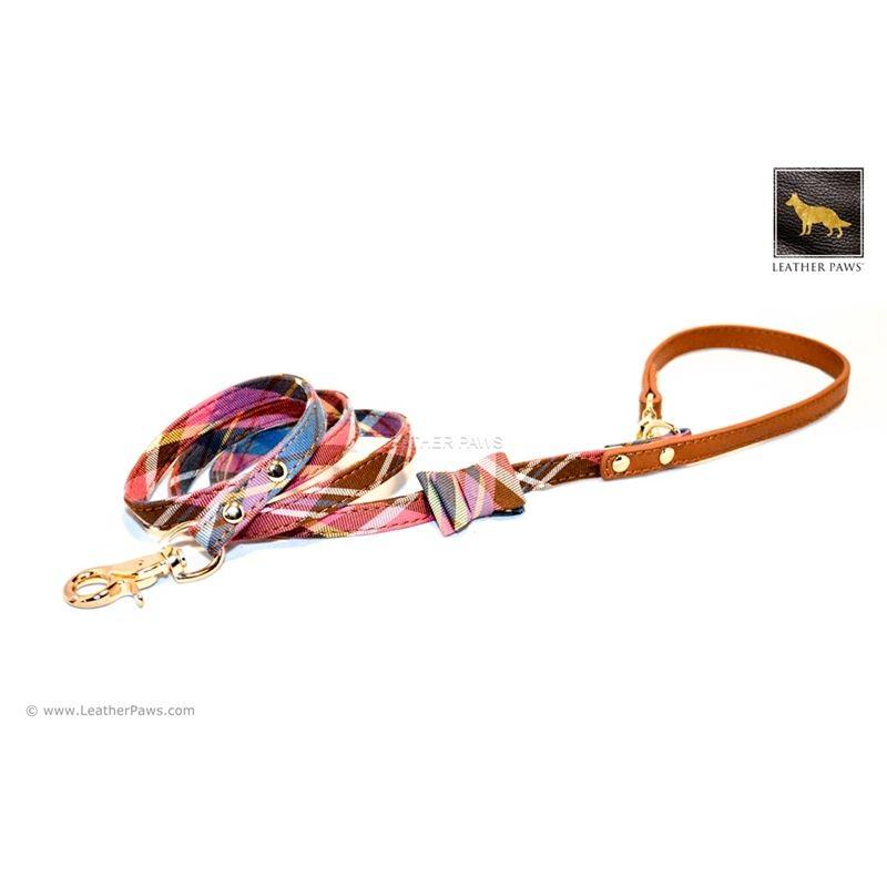 Universe Plaid Bow Tie Leather Leash