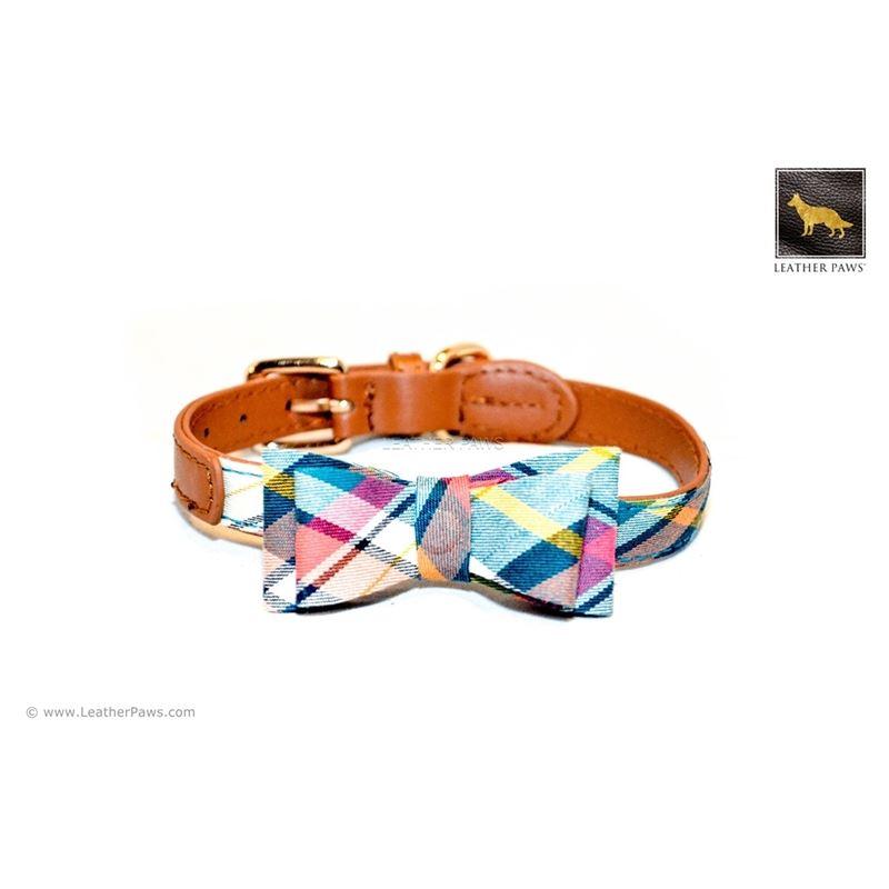 Ocean Plaid Bowtie Leather Collar