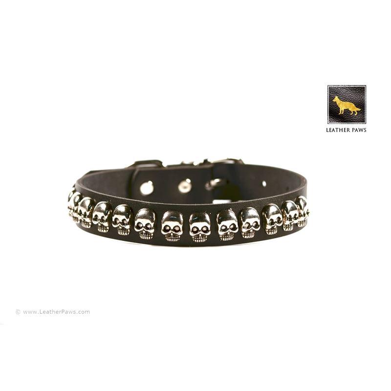 Skulls Black Leather Collar 2