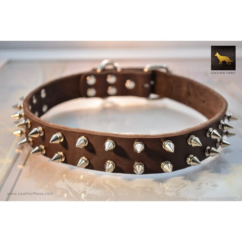 Spiked Brown Leather Collar