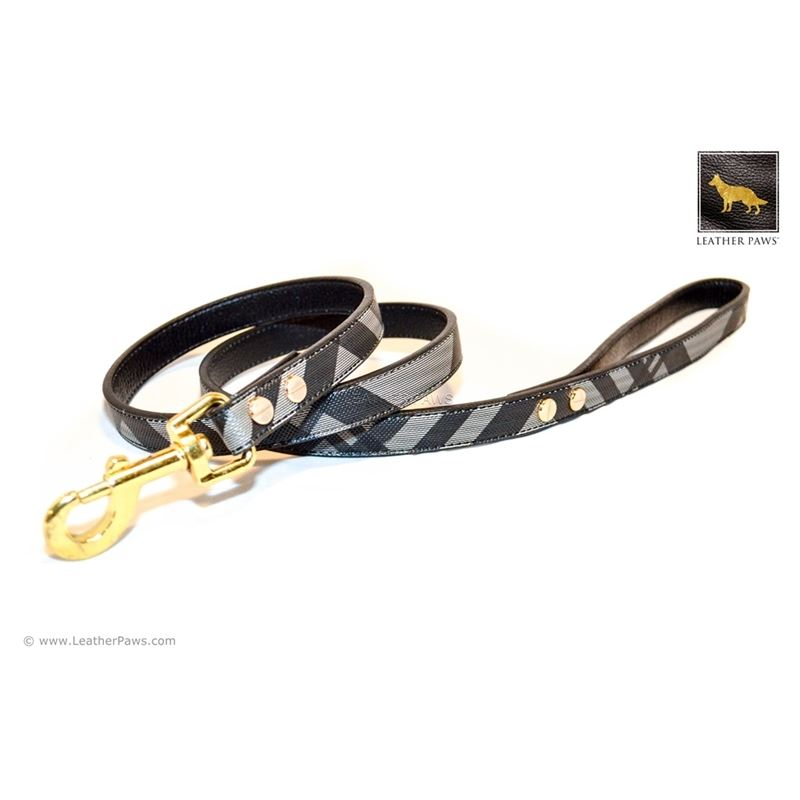 Black Designer Leather Leash