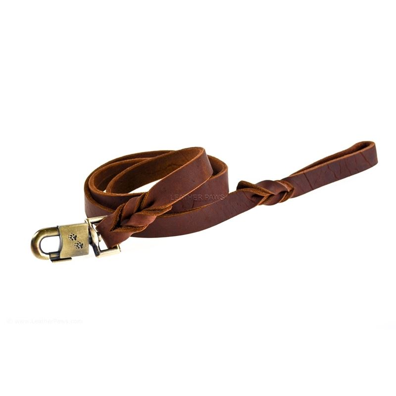 Chocolate Love Leather Leash front