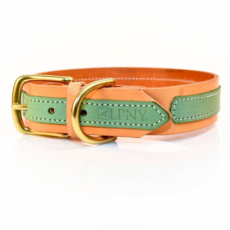 Sand Lime Leather Dog Collar