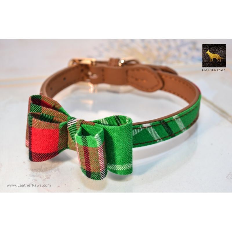 Garden Plaid Bowtie Leather Collar
