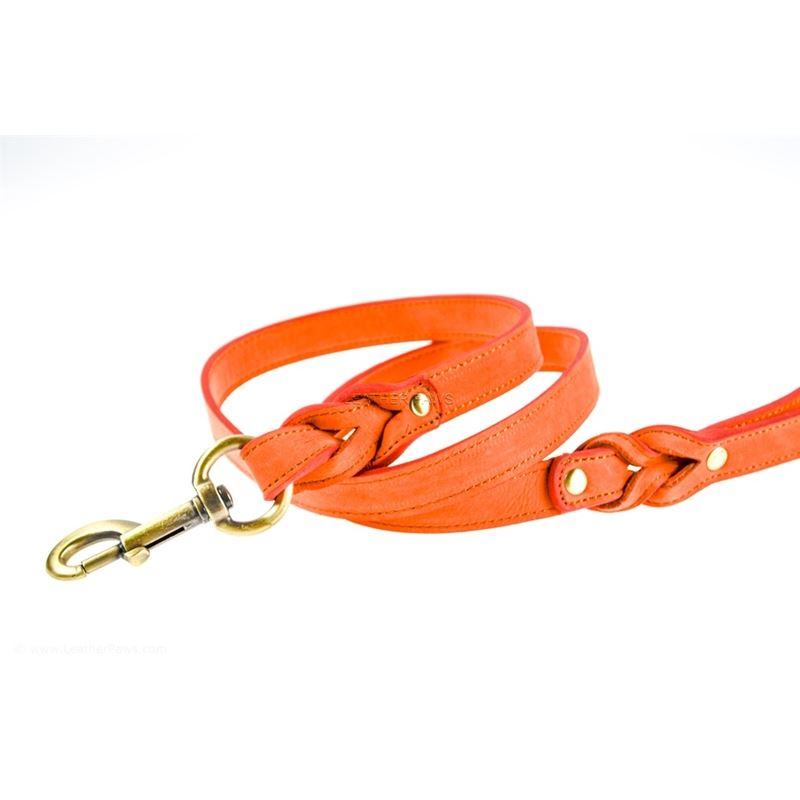 Love Knot II Peach Leather Leash